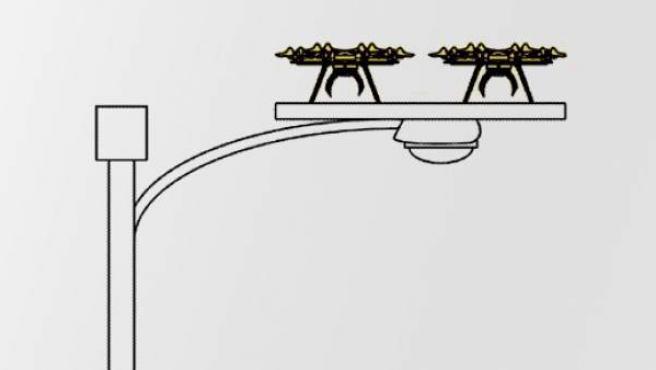 Patente de una plataforma para drones ubicada sobre una farola.