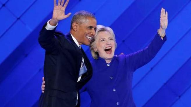 Barack Obama y Hillary Clinton, en la Convención Demócrata.