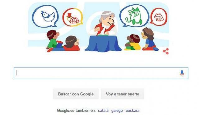 Doodle dedicado al 99 aniversario del nacimiento de Gloria Fuertes.