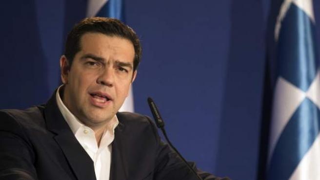 El primer ministro griego, Alexis Tsipras, en rueda de prensa.
