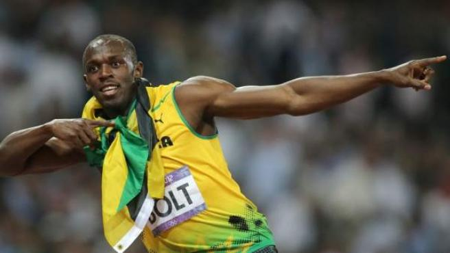 El jamaicano Usain Bolt celebra un triunfo.