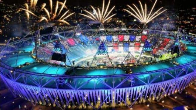 Simulación de la inauguración de los Juegos de Río.