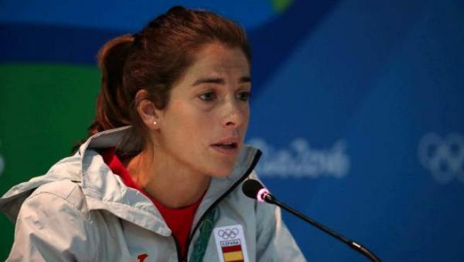 Silvia Bonastre, del equipo olímpico español de hockey femenino, durante la conferencia de prensa en Río, el 3 de agosto de 2016.