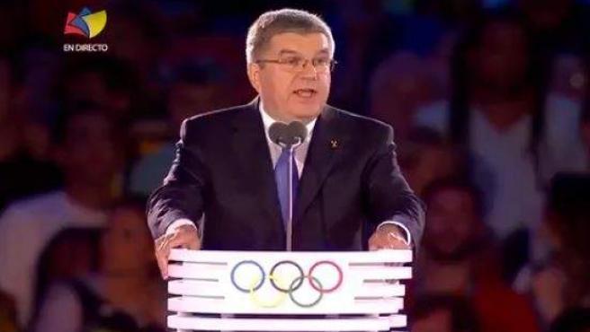 Captura de pantalla de la retransmisión de la cadena venezolana TVes de la gala inaugural de los Juegos de Río.