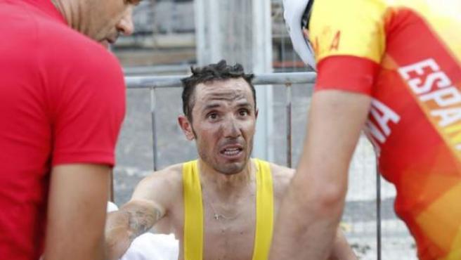 Joaquim 'Purito' Rodríguez, tras llegar a la meta en la prueba de ciclismo en ruta.