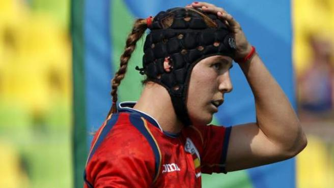 Marina Bravo en un partido con la selección española de rugby 7.