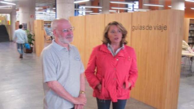 La concejala PP, María Ablanedo, y el director de la Filmoteca, Juan Bonifacio