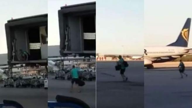 Momento en el que un pasajero de Ryanair pierde el avión en Barajas, se baja del puente de embarque y corre hacia él por la pista.