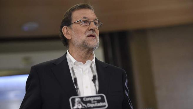 Mariano Rajoy, tras la reunión que ha mantenido con Albert Rivera en el Congreso de los Diputados.
