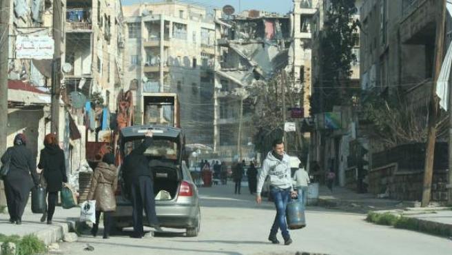 Un barrio de Alepo, Siria, destrozado por los bombardeos y los ataques.