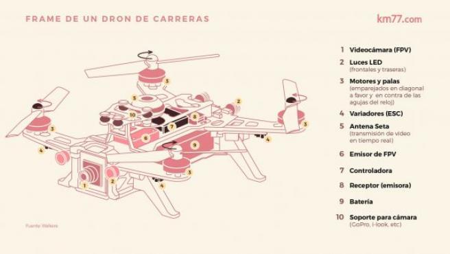 Elementos de los que se compone un dron de carreras, en este caso en un frame 250 de Walkera.