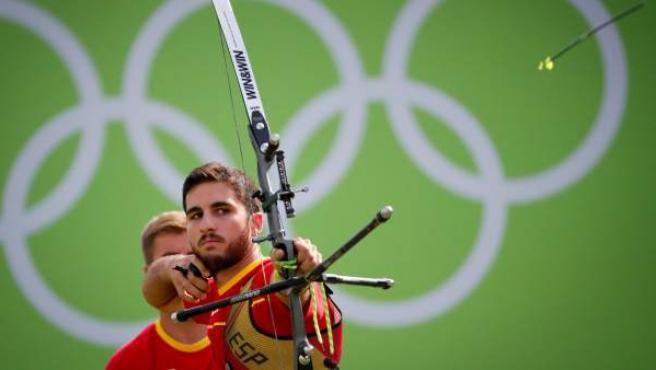 Juan Rodríguez Liébana, del equipo español de tiro con arco, compitiendo en Brasil.