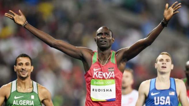 David Rudisha, oro en los 800 metros de Río su medalla de oro de Londres en la gran final de 800 metros. Pese a sus lesiones, sigue siendo el rey.