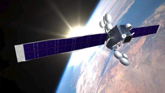 Imagen que muestra un satélite de comunicaciones en órbita.