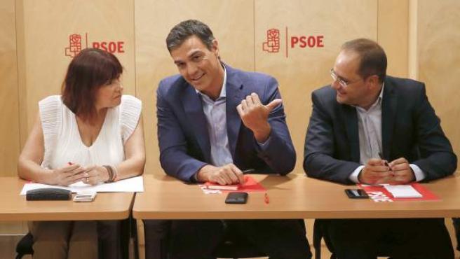 Pedro Sánchez, al inicio de la reunión de la Comisión permanente de la Ejecutiva del PSOE.