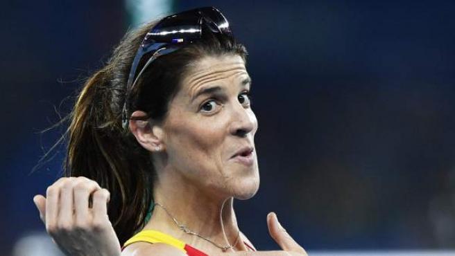 Ruth Beitia, gesticulando durante la final del salto de altura de Río 2016.