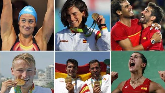 Mireia Belmonte, Maialen Chorraut, Rafa Nadal y Marc López, Marcus Walz, Cristian Toro y Saúl Craviotto y Carolina Marín, los medallistas de oro españoles en Río.