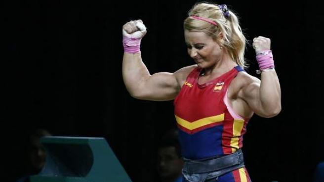 La haltera berciana Lydia Valentín celebra uno de sus levantamientos en Río 2016.