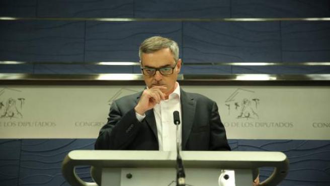 José Manuel Villegas en rueda de prensa en el Congreso