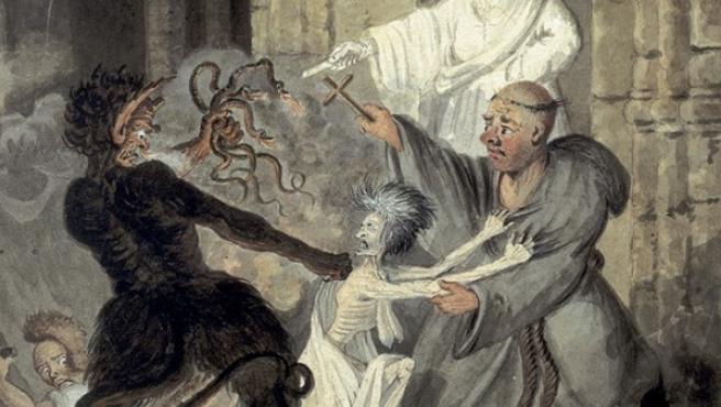 Un demonio tratando de robar un cadáver de la tumba en una acuarela de 1804 del inglés Edward Bell