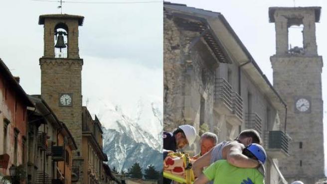 Una de las calles principales de Amatrice, en 2003 y tras el terremoto de este martes.