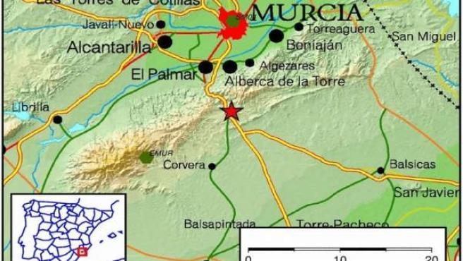 Lugar exacto en el que se ha registrado el epicentro del terremoto