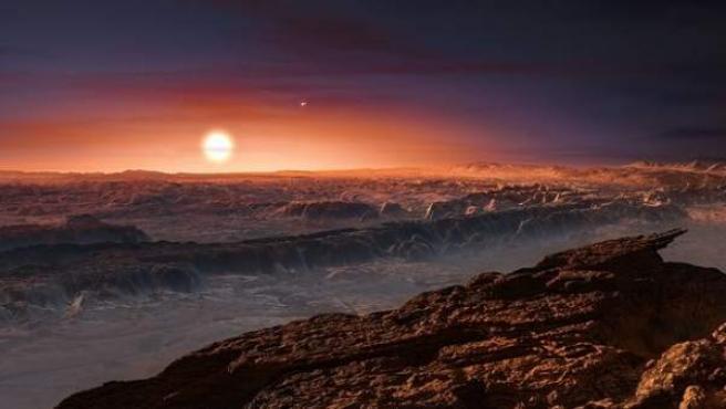 Ilustración de cómo sería la superficie del planeta Próxima b.