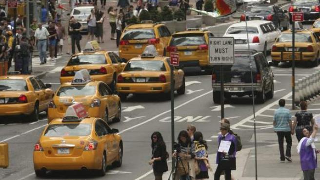 Taxis en Times Square, en la ciudad de Nueva York.