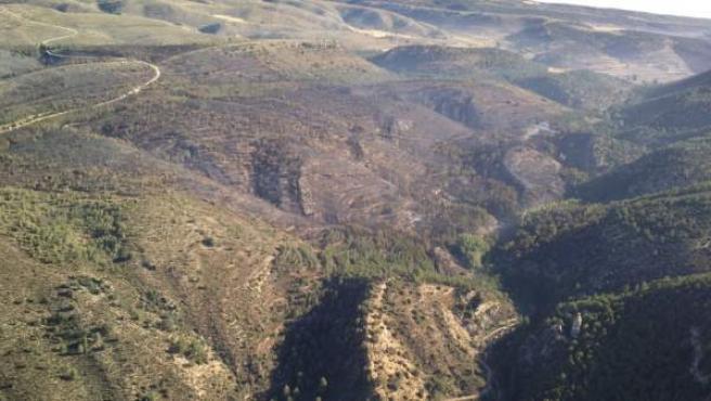 Incendio forestal en Ejulve