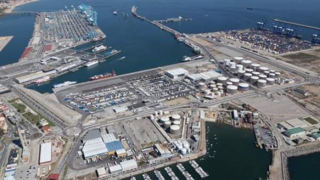 Imagen aérea del Puerto de Algeciras, en Cádiz.