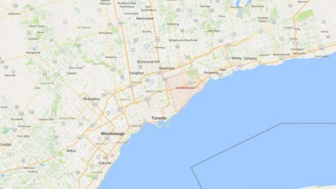 Localización en el mapa de la localidad de Scarborough enToronto.