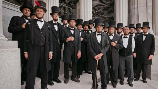 Foto de emuladores de Abraham Lincoln en su convención anual de 2014
