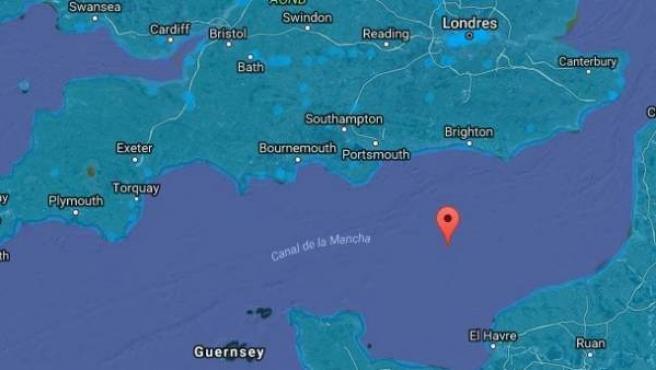 Vista satélite del Canal de La Mancha.