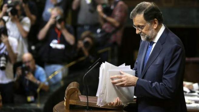 El presidente del Gobierno en funciones, Mariano Rajoy, tras pronunciar su discurso de investidura.