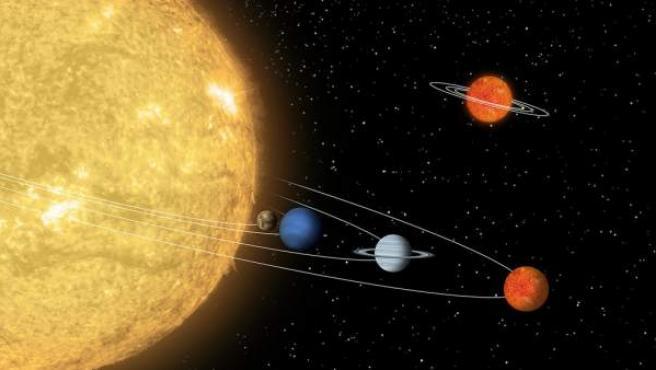 Recreación del sistema Solar.