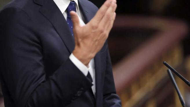 Pedro Sánchez interviene antes de la segunda votación de investidura de Rajoy.