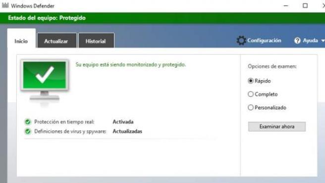 Imagen del programa Windows Defender.