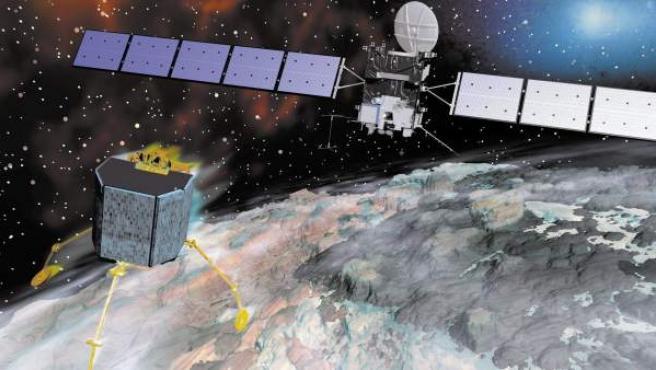 Imagen de archivo, generada por ordenador, de la sonda Rosetta, durante su aproximación al cometa 67P/Churyumov-Gerasimenko.