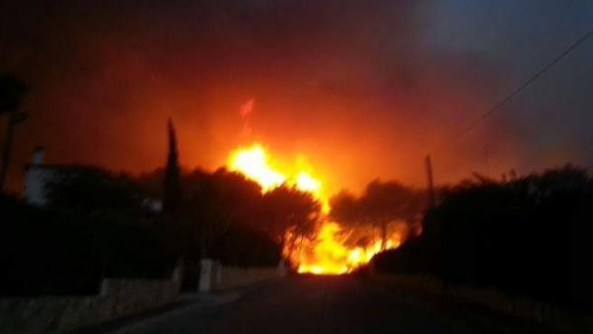 Incendio en Benitatxell y Jávea