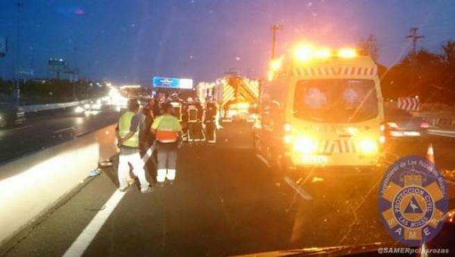 Accidente de Bruno Hortelano en la A6