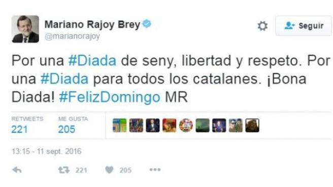 Tuit de Rajoy con motivo de la Diada de Cataluña.
