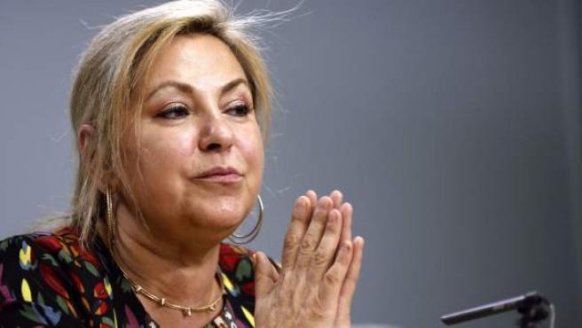 La ya exvicepresidenta de Castilla y León, Rosa Valdeón, durante la rueda de prensa ofrecida en Valladolid horas antes de presentar su dimisión.