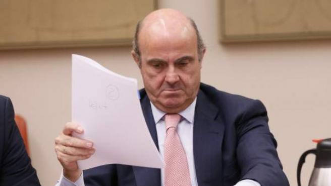 El ministro Luis de Guindos explica en la Comisión de Economía del Congreso el caso Soria.