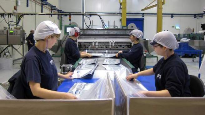 Varias empleadas llevan a cabo su trabajo en una fábrica.