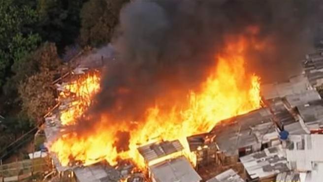 Incendio en la favela de Osasco (Sao Paulo).