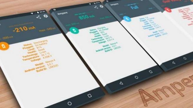 La app Ampere es una de las más usadas para comprobar el estado la batería de un móvil.