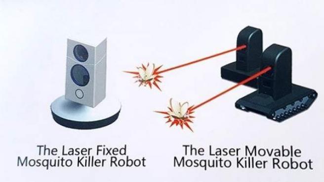 Cartel publicitario representando el funcionamiento del láser antimosquitos.