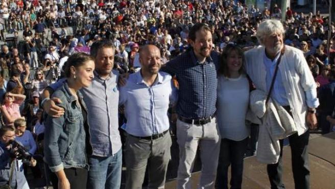 Mitin de En Marea en Vigo, con Pablo Iglesias y Beiras.