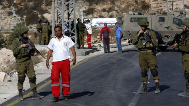 Un paso fronterizo entre Israel y Palestina.
