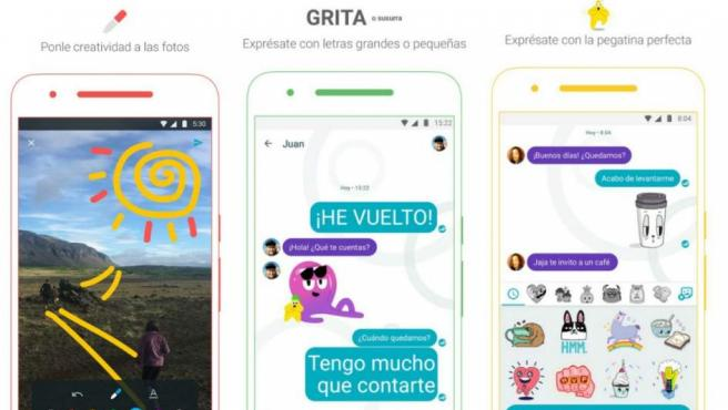 Capturas de pantalla de la app de mensajería instantánea Google Allo.